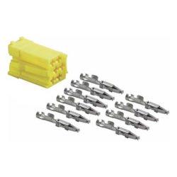 Connecteur mâle mini ISO jaune 6 pôles + 10 contacts femelles