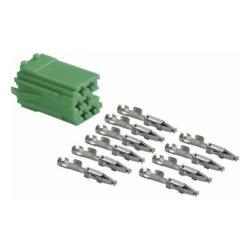Connecteur mâle mini ISO vert 6 pôles + 10 contacts femelles